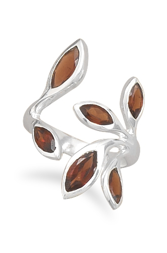 Silver Stars Collection garnet leaf ring