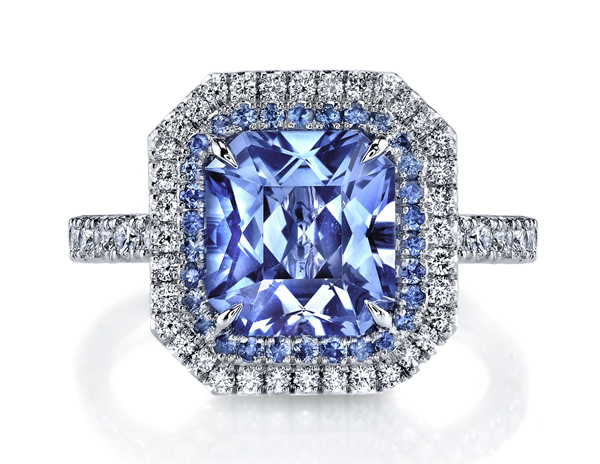 Omi Prive radiant cut sapphire and diamond ring