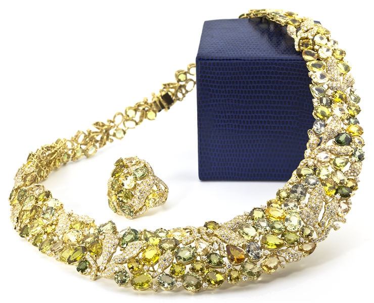 Nabil Mouzannar yellow and green sapphire Ribbon necklace