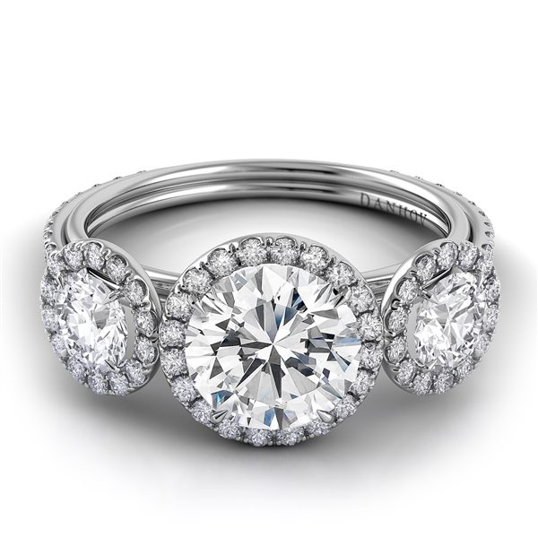 Danhov Per Lei three-stone halo engagement ring
