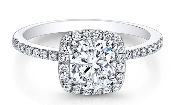 Natalie K for Forevermark cushion halo diamond engagement ring