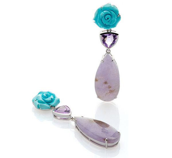 Bahina Classics carved turquoise rose earrings with amethyst and purple jade drops