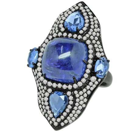 Sutra tanzanite and sapphire shield ring