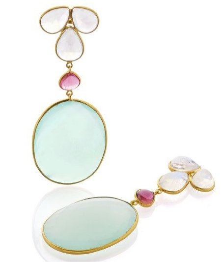 Bahina Jewels moonstone, tourmaline, and onyx earrings