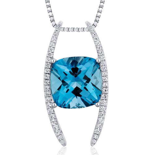SilverMasterpiece cushion blue topaz pendant