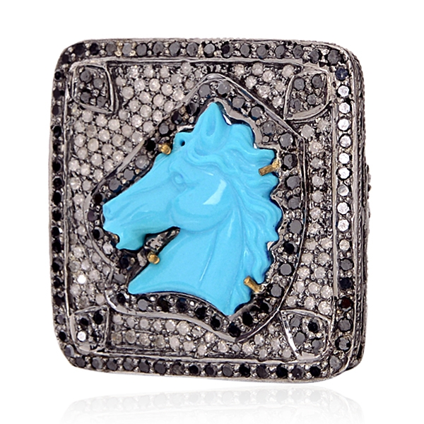 Gemco carved turquoise horse ring