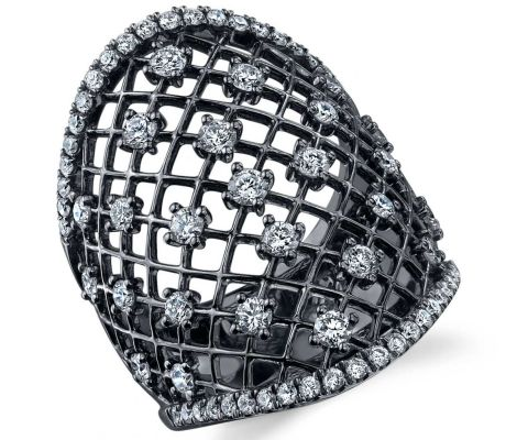 Sylvie Collection black rhodium diamond lace ring