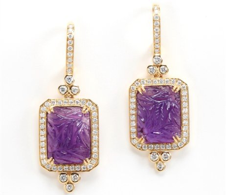 Rina Limor carved amethyst drop earrings