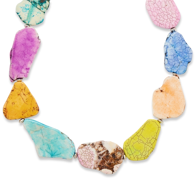 Silver Stars Collection multicolor magnesite fashion necklace