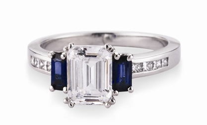 Bergio sapphire-accent engagement ring mounting