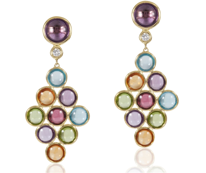 Goshwara Gossip multiclolor gemstone disc earrings