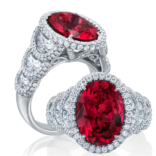 JB Star ruby and halo diamond ring