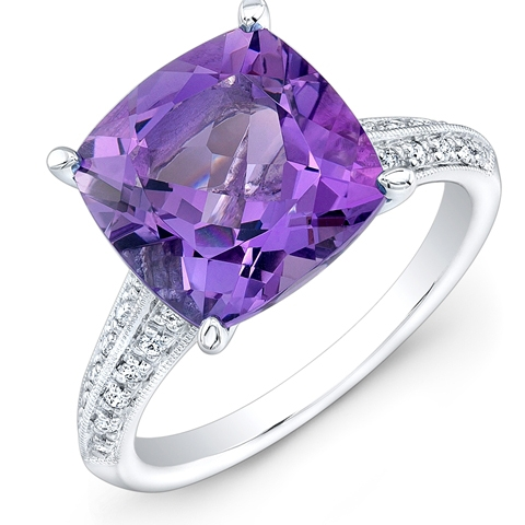 Carl K Gumpert cushion-cut amethyst ring
