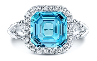 Carl K Gumpert blue topaz and diamond ring