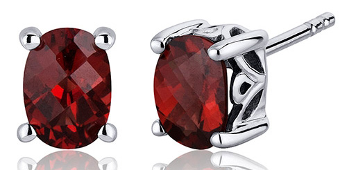 SilverMasterpiece garnet oval stud earrings