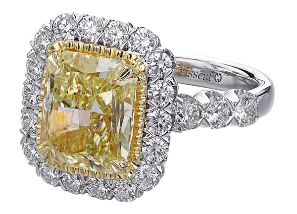 Christopher Designs fancy yellow radiant diamond ring