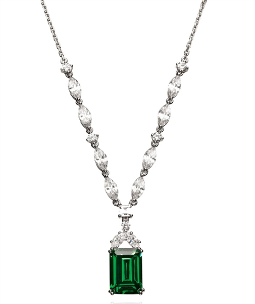 Crislu Corp emerald and marquise CZ necklace