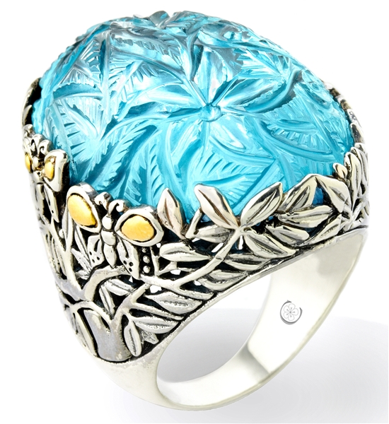 Cydonia & Co. carved blue topaz ring