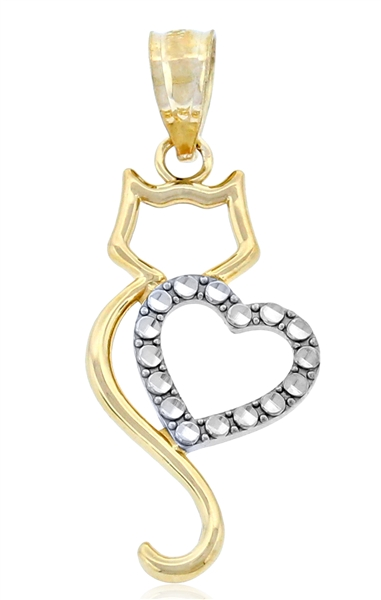 Charm America cat and CZ heart charm