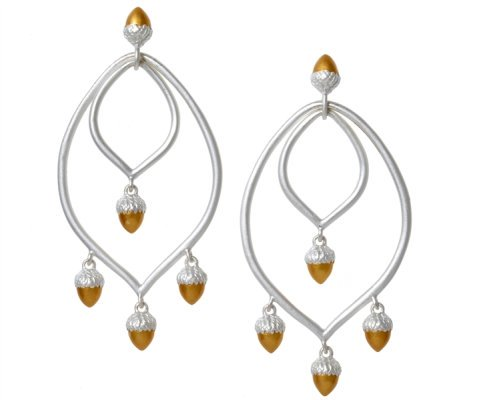 Rebecca Hook acorn chandelier earrings
