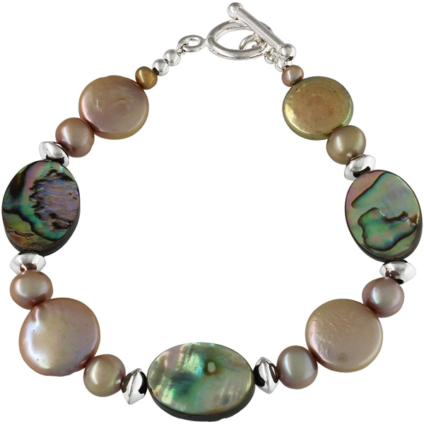 Elektra Designs tapue pearl and abalone bracelet