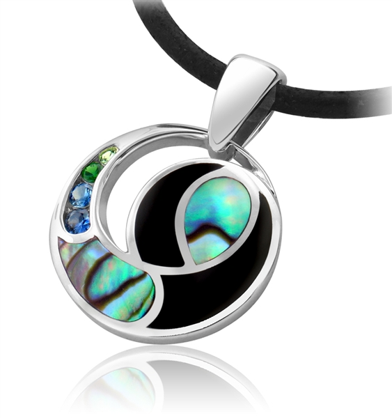 Wilkerson & Associates abalone and black agate pendant