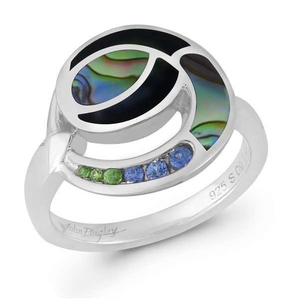 Wilkerson & Associates black agate and abalone circle ring