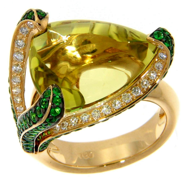 Michael John Jewelry quartz and tsavorite ring
