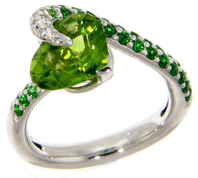 Michael John Jewelry peridot and tsavorite ring