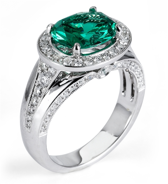 Supreme Jewelry green garnet and diamond ring