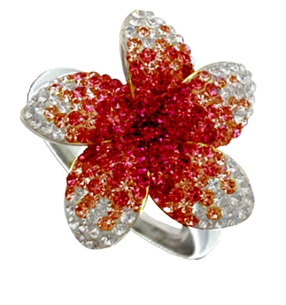 Chelsea Taylor red crystal flower ring