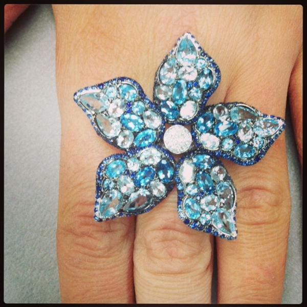 Trio of NY blue topaz flower ring