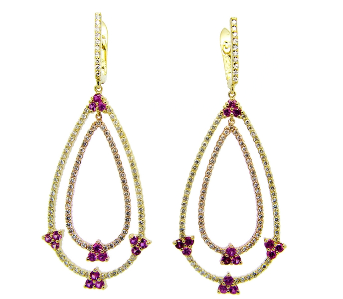 El Dorado pink sapphire and diamond earrings