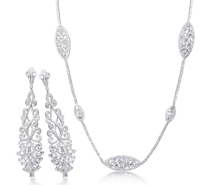 B.A. Gold rose-cut diamond jewelry suite