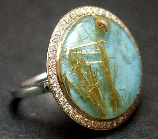Tony Maccabi rutilated quartz over turquoise ring