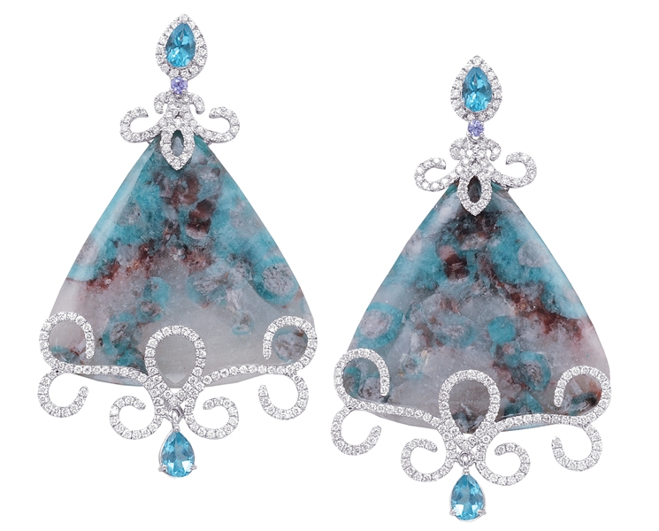 Jordan Scott Designs one of a kind paraiba drop earrings