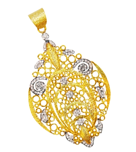 J S Noor open filigree lace pendant