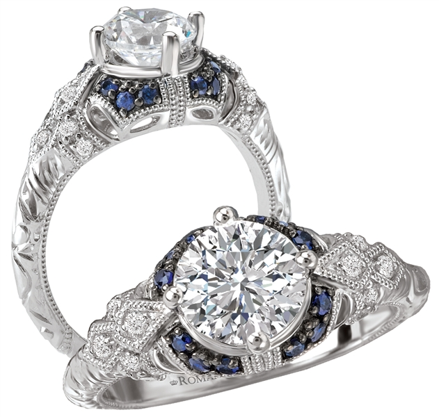 Kim International sapphire-accent vintage style engagement ring