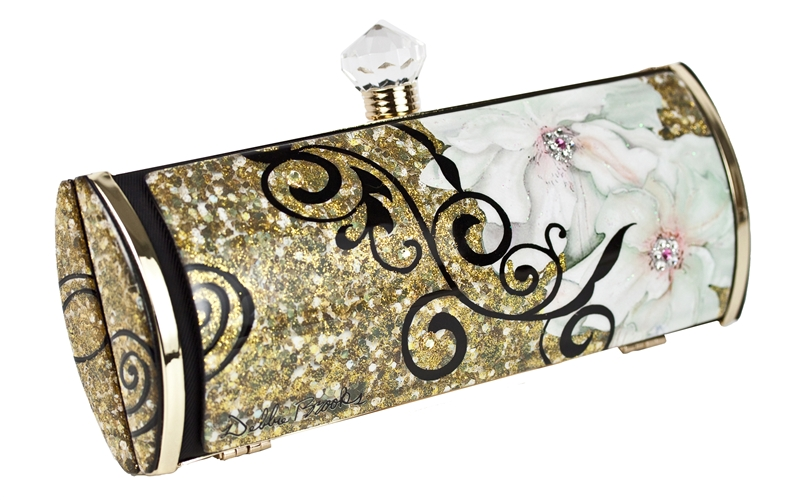 Debbie Brooks Swarovski flower gold clutch