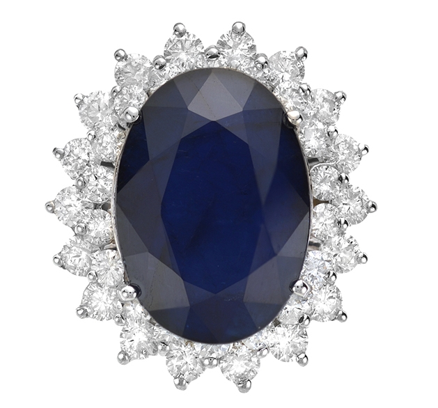 LAJ blue sapphire and diamond ring