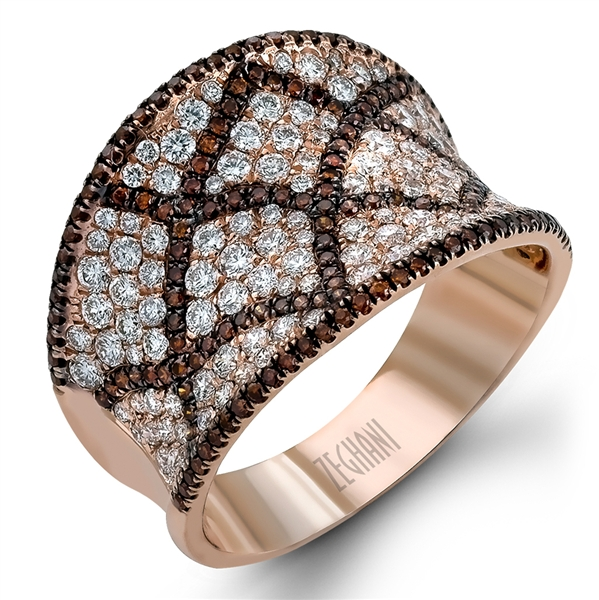 Zeghani brown and white diamond ring