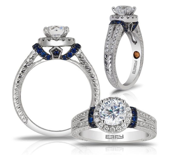 EFFY halo diamond sapphire bridal collection ring