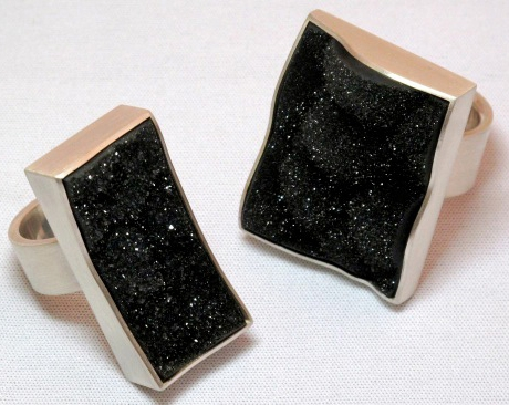 Hilde Leiss black agate drusy rings