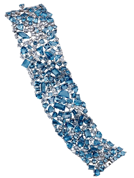 Michael John Jewelry aquamarine and diamond bracelet