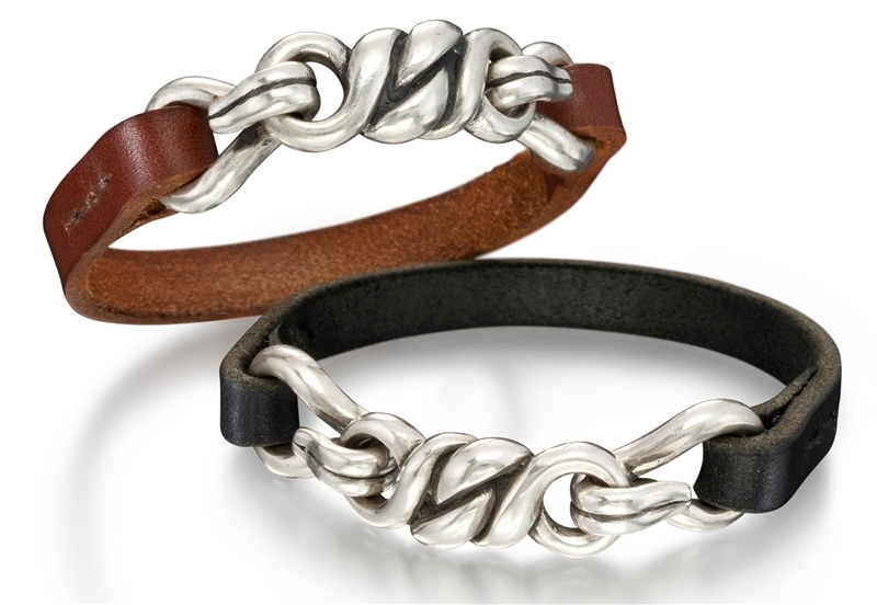 Heston Designs leather and silver bracelets