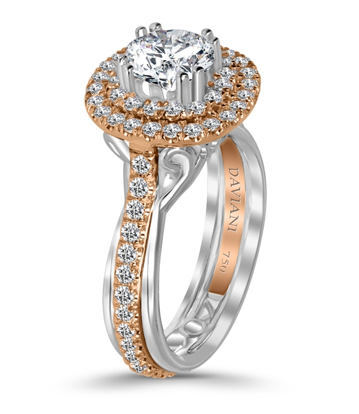 Daviani rose gold halo diamond engagement ring