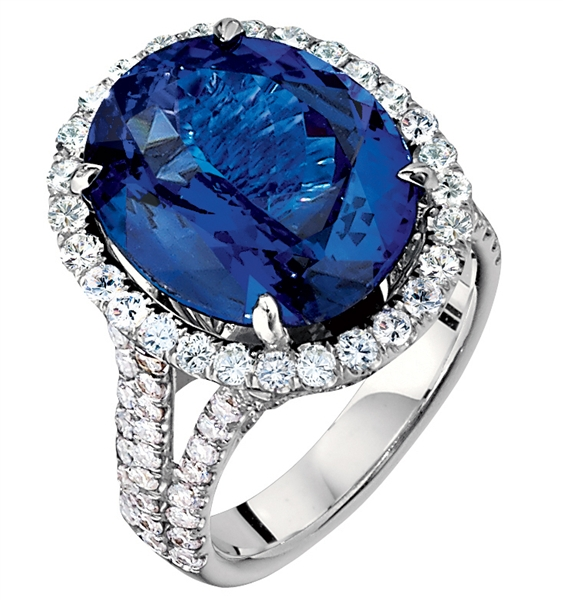 James' International oval sapphire and diamond ring