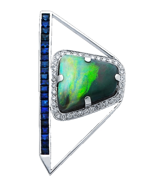 Forty-Seventh Fifth opal and sapphire brooch
