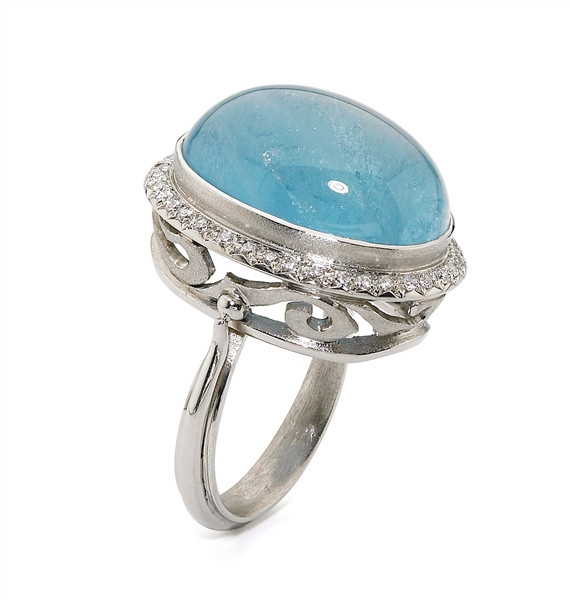 Alishan platinum aquamarine ring