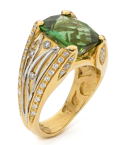 Alishan green tourmaline botanical ring